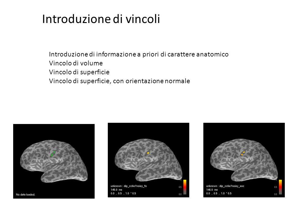 Introduzione di informazione a priori di carattere anatomico Vincolo di volume Vincolo di superficie Vincolo di superficie, con orientazione normale I