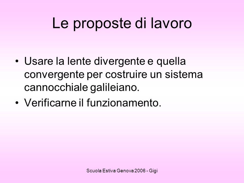 Scuola Estiva Genova 2006 - Gigi Le proposte di lavoro Usare la lente divergente e quella convergente per costruire un sistema cannocchiale galileiano
