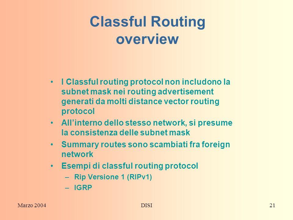 Marzo 2004DISI21 Classful Routing overview I Classful routing protocol non includono la subnet mask nei routing advertisement generati da molti distan