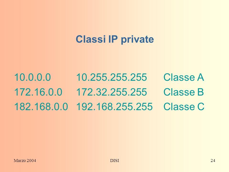 Marzo 2004DISI24 Classi IP private 10.0.0.0 10.255.255.255 Classe A 172.16.0.0 172.32.255.255 Classe B 182.168.0.0 192.168.255.255 Classe C