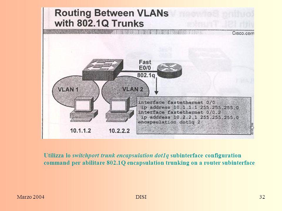 Marzo 2004DISI32 Utilizza lo switchport trunk encapsulation dot1q subinterface configuration command per abilitare 802.1Q encapsulation trunking on a