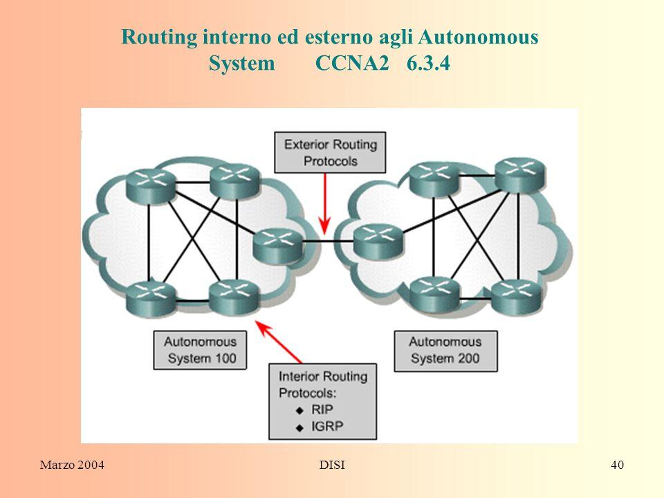 Marzo 2004DISI40 Routing interno ed esterno agli Autonomous System CCNA2 6.3.4