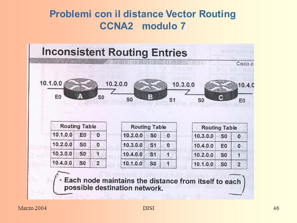 Marzo 2004DISI46 Problemi con il distance Vector Routing CCNA2 modulo 7