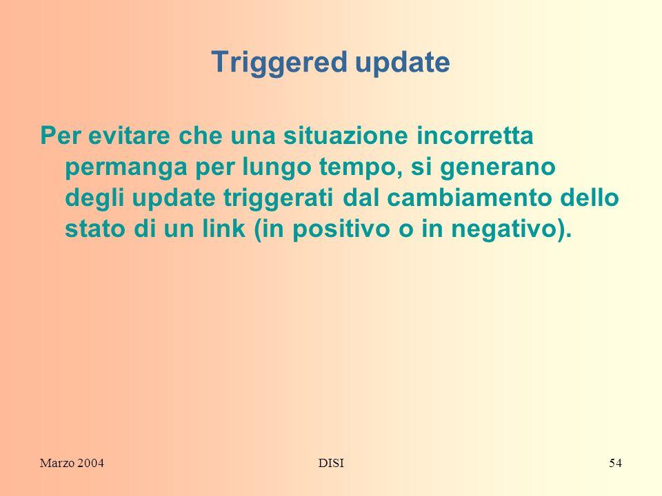 Marzo 2004DISI54 Triggered update Per evitare che una situazione incorretta permanga per lungo tempo, si generano degli update triggerati dal cambiame