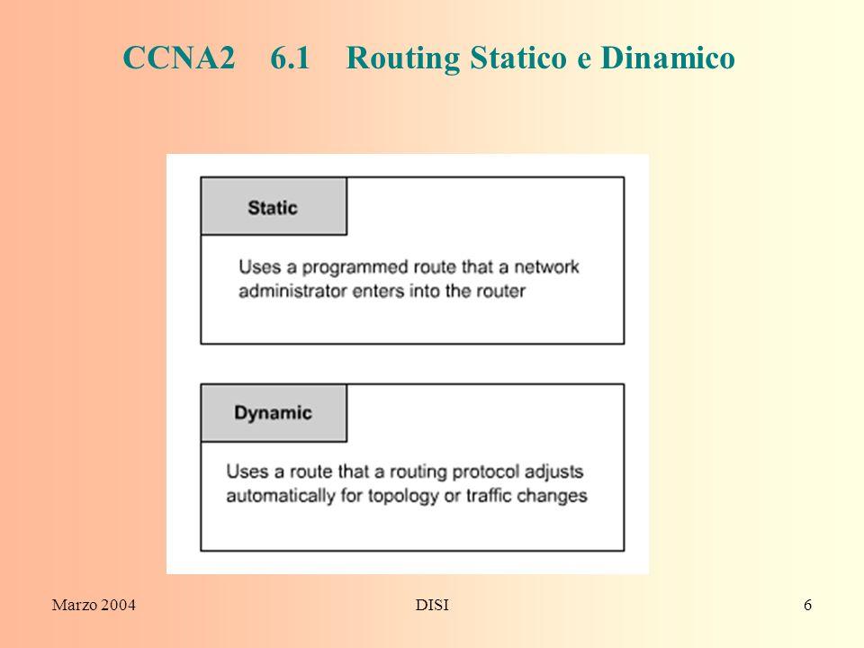 Marzo 2004DISI6 CCNA2 6.1 Routing Statico e Dinamico