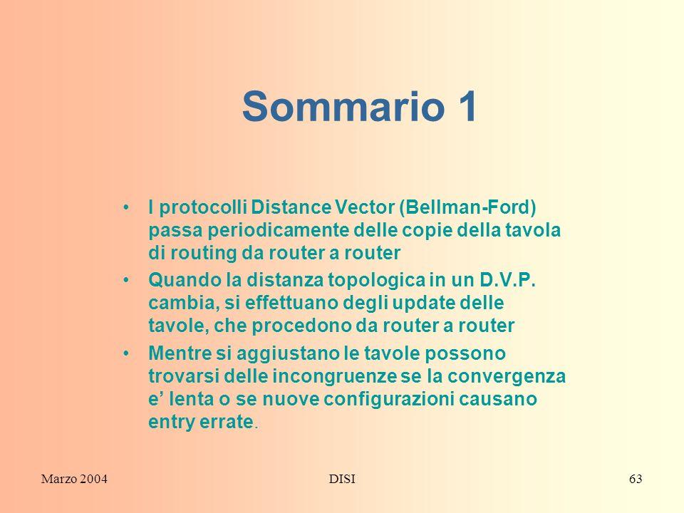 Marzo 2004DISI63 Sommario 1 I protocolli Distance Vector (Bellman-Ford) passa periodicamente delle copie della tavola di routing da router a router Qu