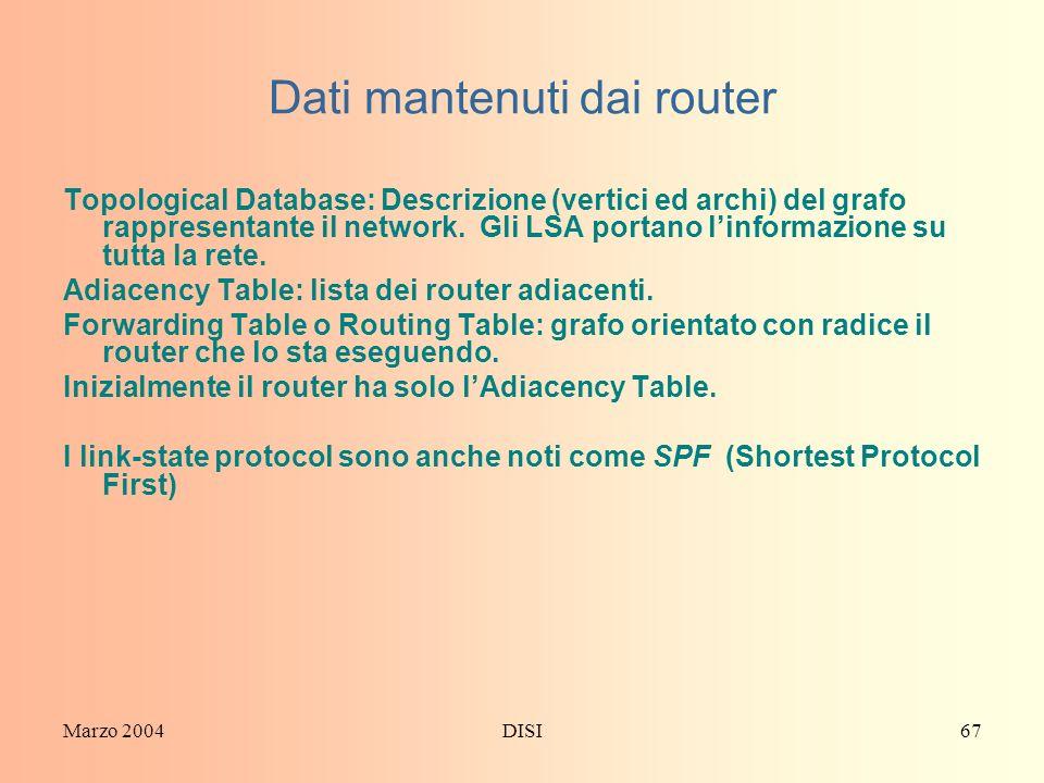Marzo 2004DISI67 Dati mantenuti dai router Topological Database: Descrizione (vertici ed archi) del grafo rappresentante il network. Gli LSA portano l