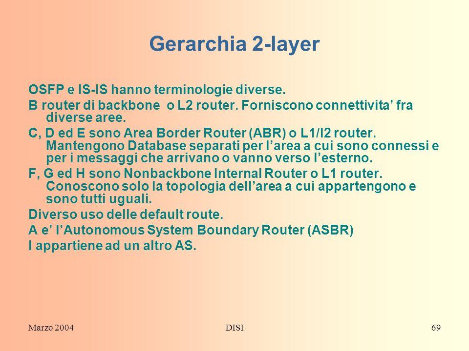 Marzo 2004DISI69 Gerarchia 2-layer OSFP e IS-IS hanno terminologie diverse. B router di backbone o L2 router. Forniscono connettivita fra diverse aree