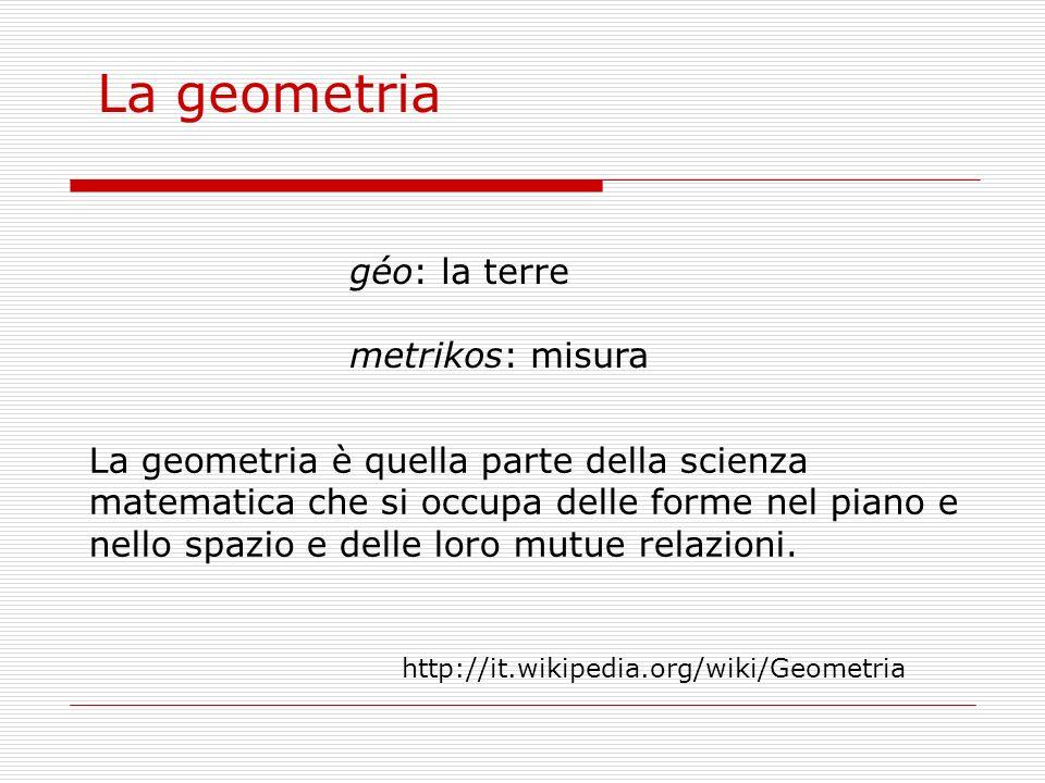 géo: la terre metrikos: misura La geometria La geometria è quella parte della scienza matematica che si occupa delle forme nel piano e nello spazio e