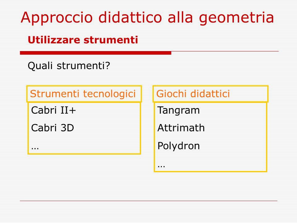Approccio didattico alla geometria Utilizzare strumenti Quali strumenti? Strumenti tecnologici Cabri II+ Cabri 3D … Giochi didattici Tangram Attrimath