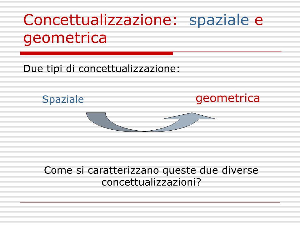 geometrica Concettualizzazione: spaziale e geometrica Due tipi di concettualizzazione: Spaziale Come si caratterizzano queste due diverse concettualiz