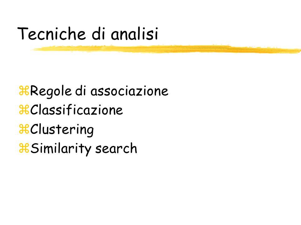 zRegole di associazione zClassificazione zClustering zSimilarity search
