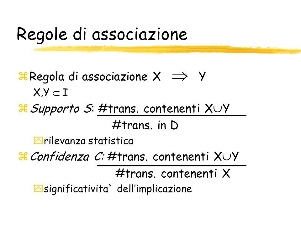Regole di associazione zRegola di associazione X Y X,Y I zSupporto S: #trans. contenenti X Y #trans. in D yrilevanza statistica zConfidenza C: #trans.