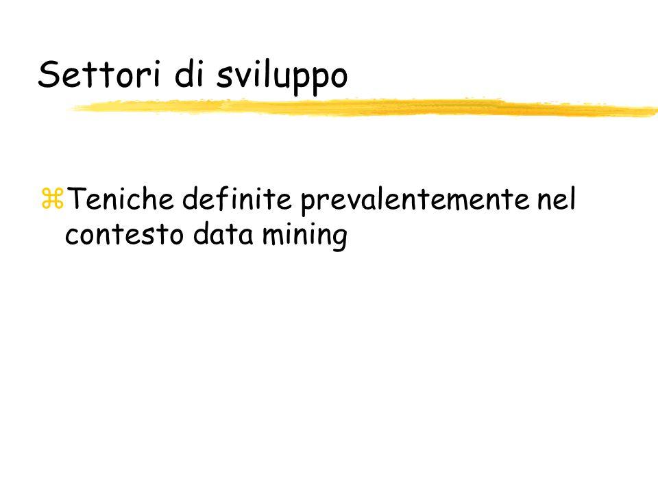 Settori di sviluppo zTeniche definite prevalentemente nel contesto data mining
