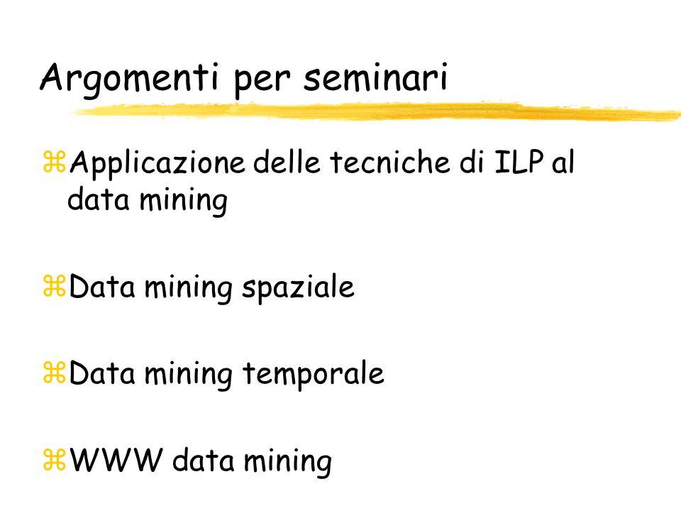 Argomenti per seminari zApplicazione delle tecniche di ILP al data mining zData mining spaziale zData mining temporale zWWW data mining