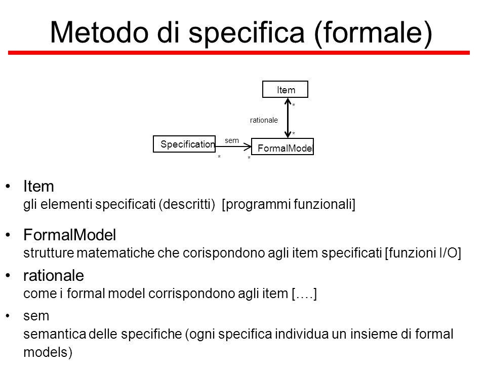 Esercizi Esercizio 0: elencate delle notazioni/tecniche di specifiche che avete utilizzato prima di ora, classificandole rispetto alla loro formalità ed agli item che considerano.