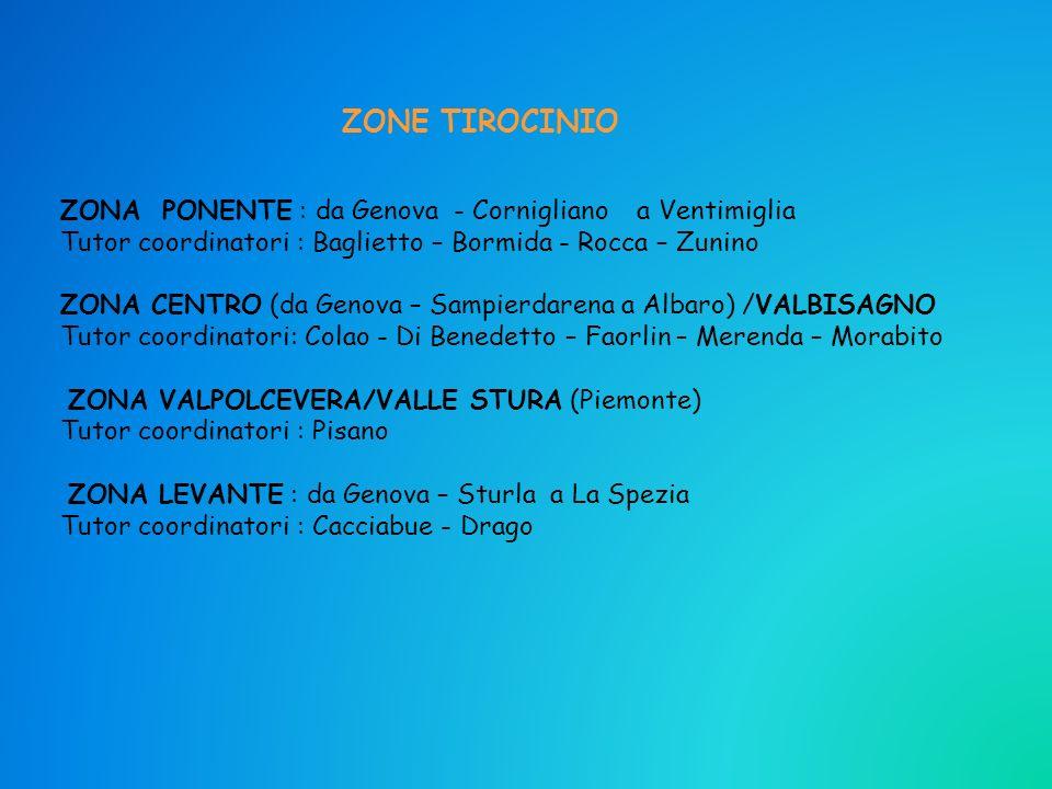 ZONA PONENTE : da Genova - Cornigliano a Ventimiglia Tutor coordinatori : Baglietto – Bormida - Rocca – Zunino ZONA CENTRO (da Genova – Sampierdarena