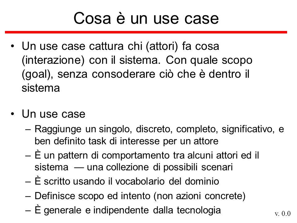 v. 0.0 Cosa è un use case Un use case cattura chi (attori) fa cosa (interazione) con il sistema. Con quale scopo (goal), senza consoderare ciò che è d