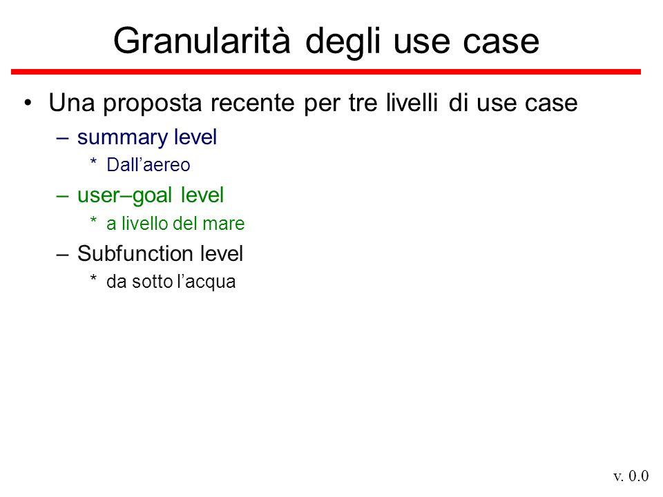 v. 0.0 Granularità degli use case Una proposta recente per tre livelli di use case –summary level *Dallaereo –user–goal level *a livello del mare –Sub