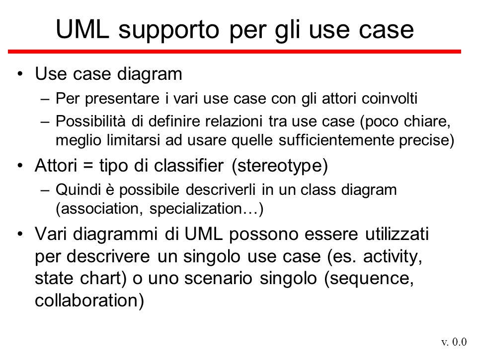 v. 0.0 UML supporto per gli use case Use case diagram –Per presentare i vari use case con gli attori coinvolti –Possibilità di definire relazioni tra