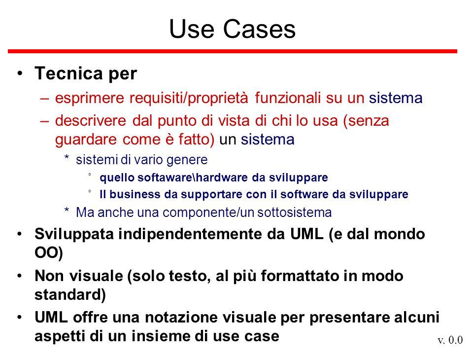 v. 0.0 Use Cases Tecnica per –esprimere requisiti/proprietà funzionali su un sistema –descrivere dal punto di vista di chi lo usa (senza guardare come