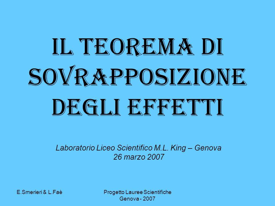 E.Smerieri & L.FaèProgetto Lauree Scientifiche Genova - 2007 Il Teorema di Sovrapposizione degli effetti Laboratorio Liceo Scientifico M.L.