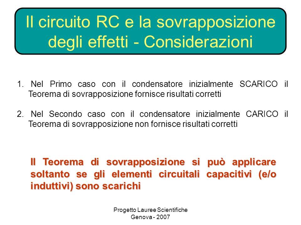 Progetto Lauree Scientifiche Genova - 2007 Il circuito RC e la sovrapposizione degli effetti - Considerazioni 1.