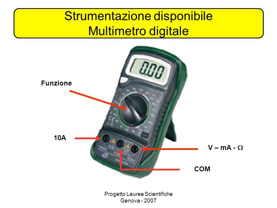 Progetto Lauree Scientifiche Genova - 2007 Strumentazione disponibile Multimetro digitale COM 10A V – mA - Funzione