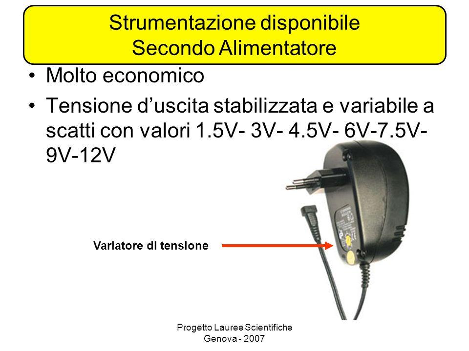 Progetto Lauree Scientifiche Genova - 2007 Molto economico Tensione duscita stabilizzata e variabile a scatti con valori 1.5V- 3V- 4.5V- 6V-7.5V- 9V-12V Variatore di tensione Strumentazione disponibile Secondo Alimentatore