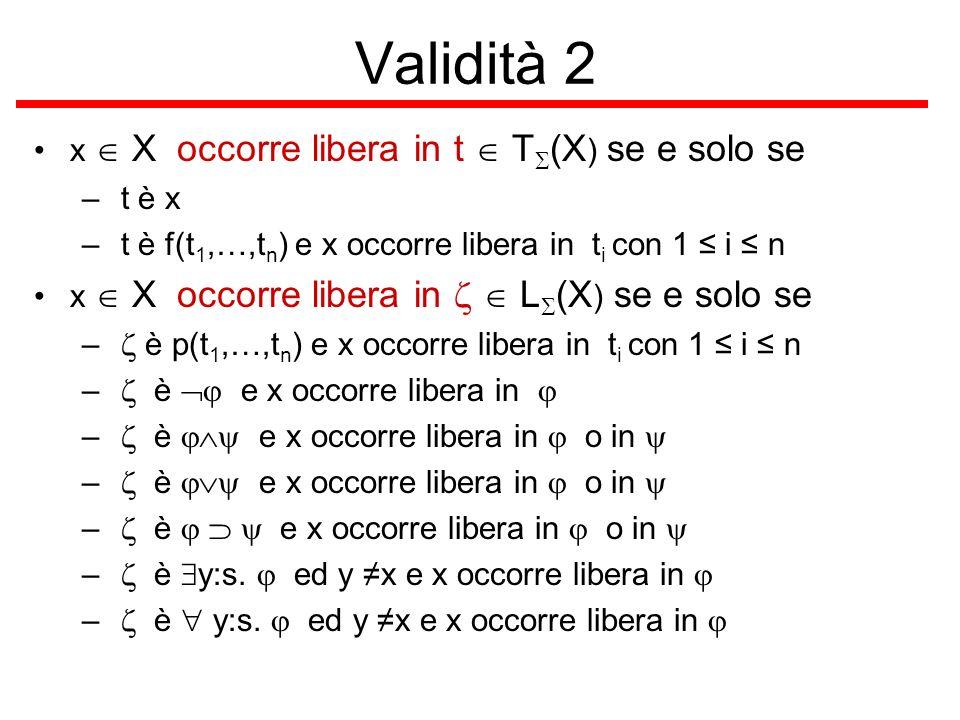 Validità 2 x X occorre libera in t T (X ) se e solo se – t è x – t è f(t 1,…,t n ) e x occorre libera in t i con 1 i n x X occorre libera in L (X ) se