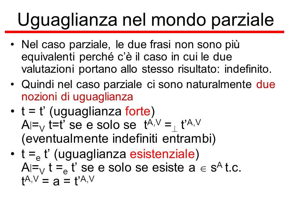 Uguaglianza nel mondo parziale Nel caso parziale, le due frasi non sono più equivalenti perché cè il caso in cui le due valutazioni portano allo stess