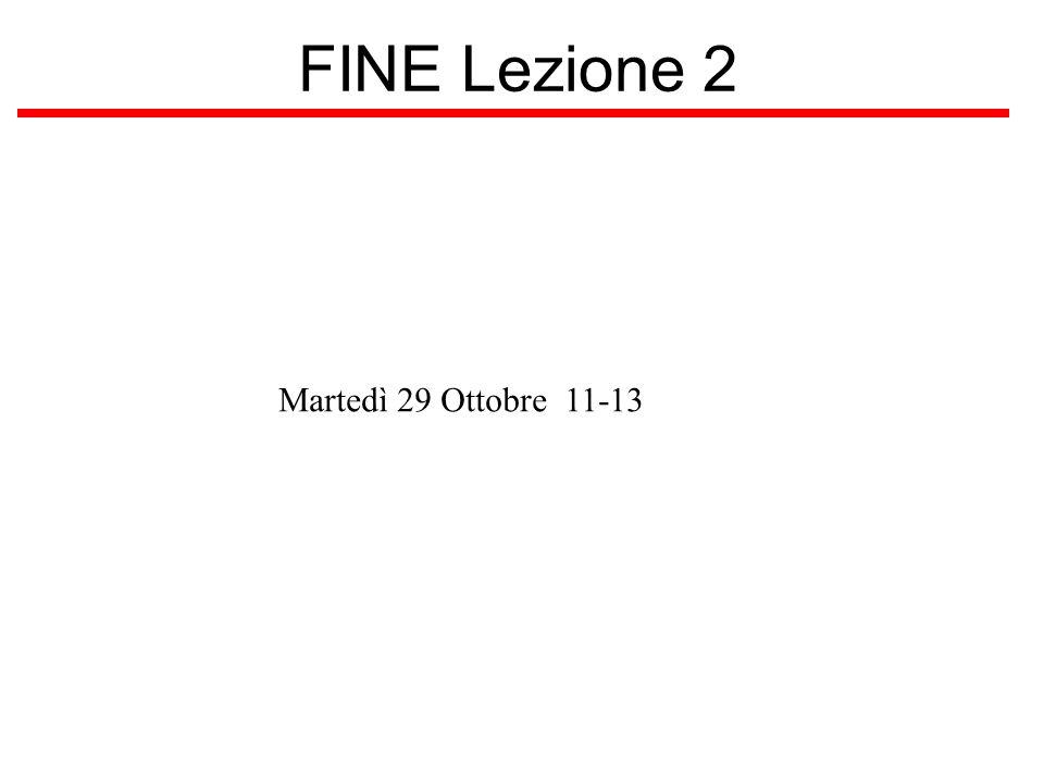 FINE Lezione 2 Martedì 29 Ottobre 11-13