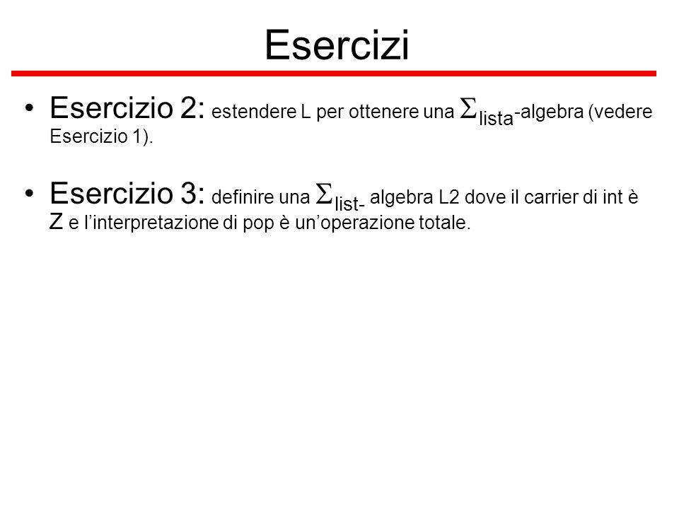Esercizi Esercizio 2: estendere L per ottenere una lista -algebra (vedere Esercizio 1). Esercizio 3: definire una list- algebra L2 dove il carrier di
