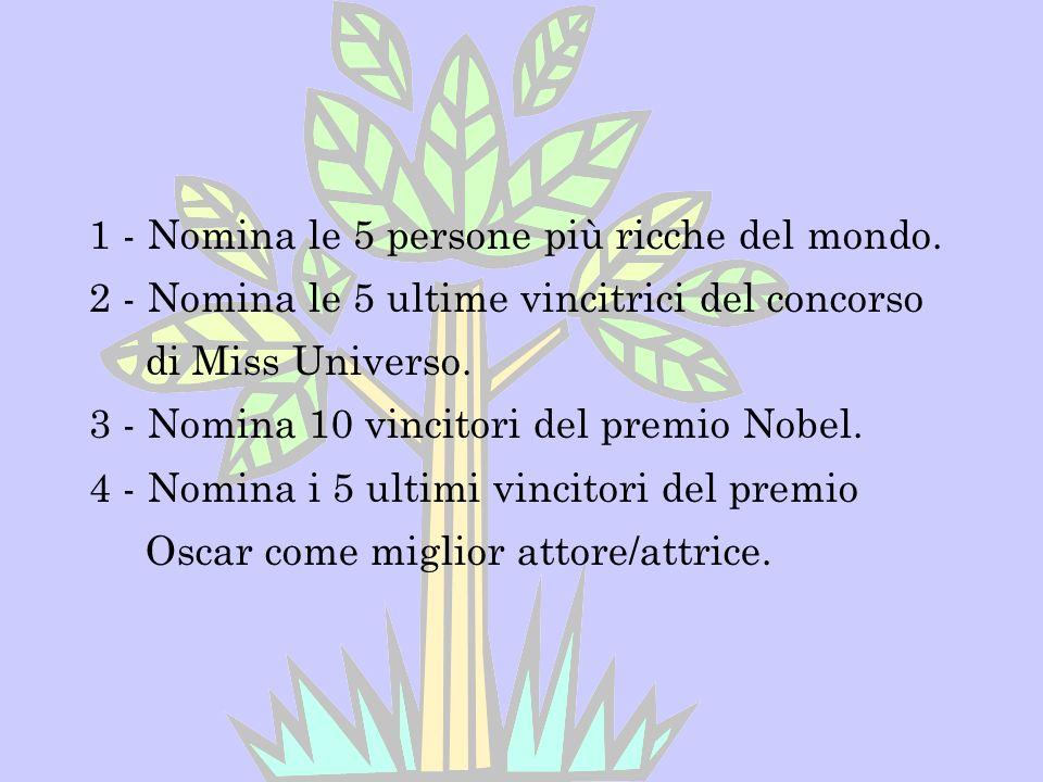 1 - Nomina le 5 persone più ricche del mondo. 2 - Nomina le 5 ultime vincitrici del concorso di Miss Universo. 3 - Nomina 10 vincitori del premio Nobe