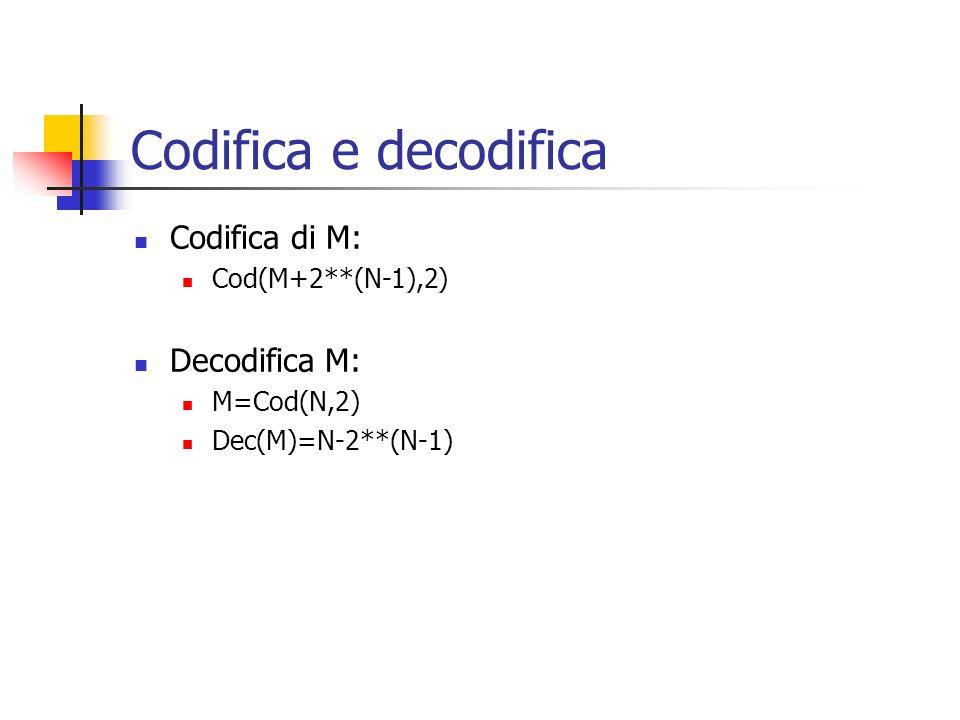 Codifica e decodifica Codifica di M: Cod(M+2**(N-1),2) Decodifica M: M=Cod(N,2) Dec(M)=N-2**(N-1)
