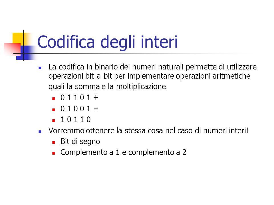 Codifica degli interi La codifica in binario dei numeri naturali permette di utilizzare operazioni bit-a-bit per implementare operazioni aritmetiche q