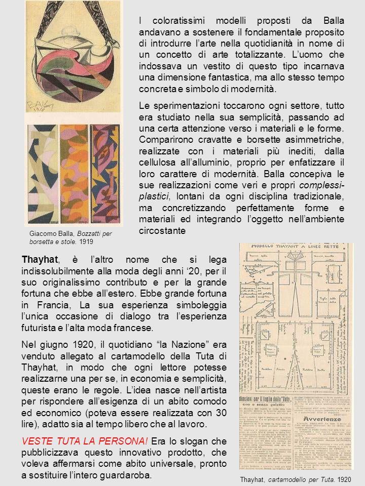 I coloratissimi modelli proposti da Balla andavano a sostenere il fondamentale proposito di introdurre larte nella quotidianità in nome di un concetto