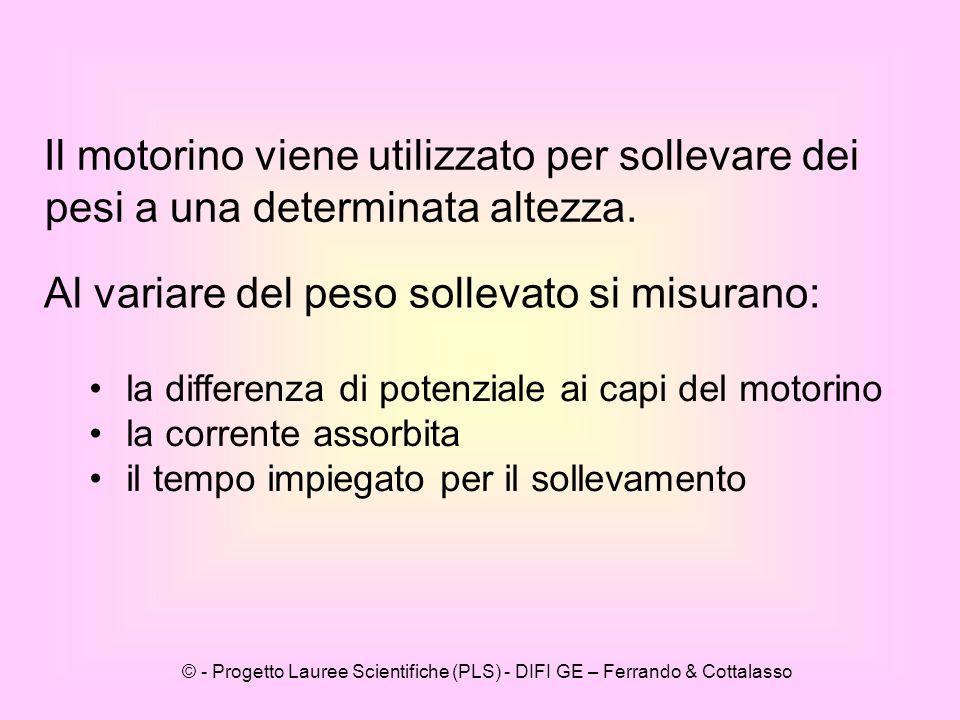 © - Progetto Lauree Scientifiche (PLS) - DIFI GE – Ferrando & Cottalasso Il motorino viene utilizzato per sollevare dei pesi a una determinata altezza.