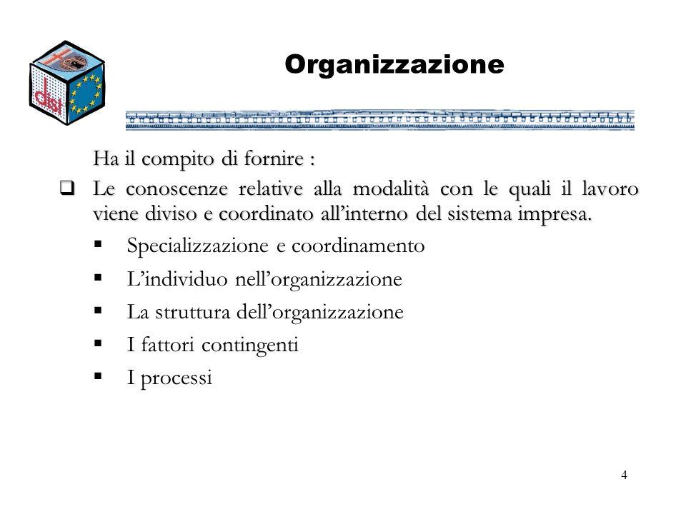 4 Organizzazione Ha il compito di fornire : Le conoscenze relative alla modalità con le quali il lavoro viene diviso e coordinato allinterno del siste