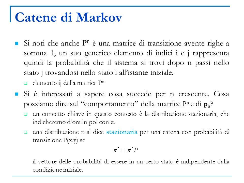 Catene di Markov Si noti che anche P n è una matrice di transizione avente righe a somma 1, un suo generico elemento di indici i e j rappresenta quind