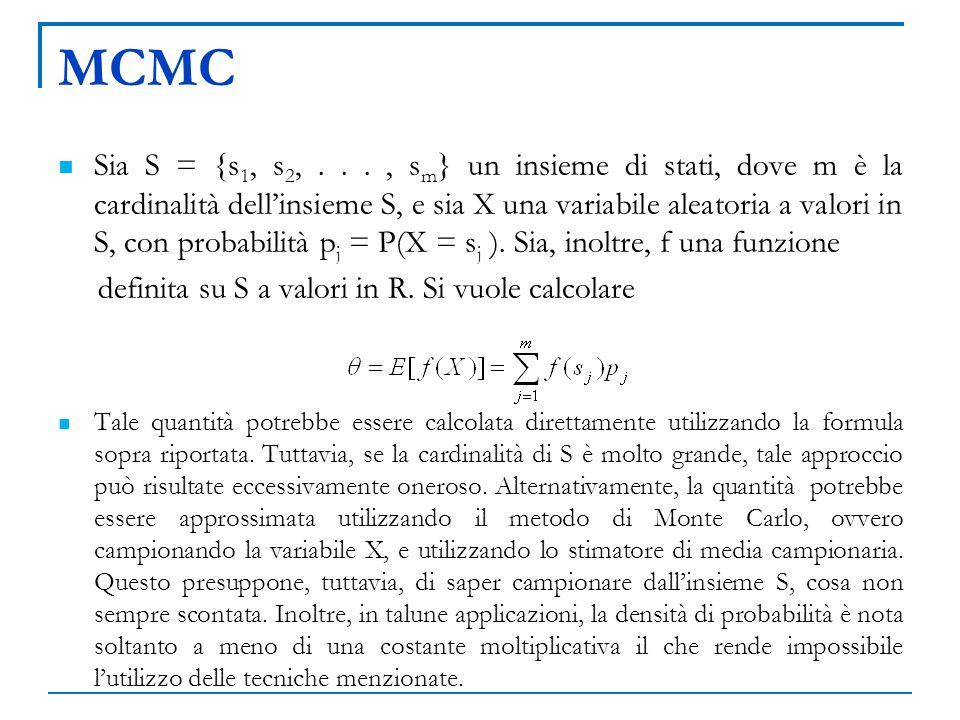 MCMC Sia S = {s 1, s 2,..., s m } un insieme di stati, dove m è la cardinalità dellinsieme S, e sia X una variabile aleatoria a valori in S, con proba