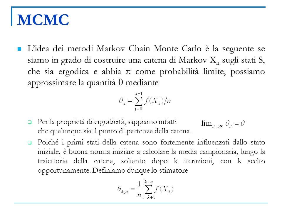 MCMC Lidea dei metodi Markov Chain Monte Carlo è la seguente se siamo in grado di costruire una catena di Markov X n sugli stati S, che sia ergodica e