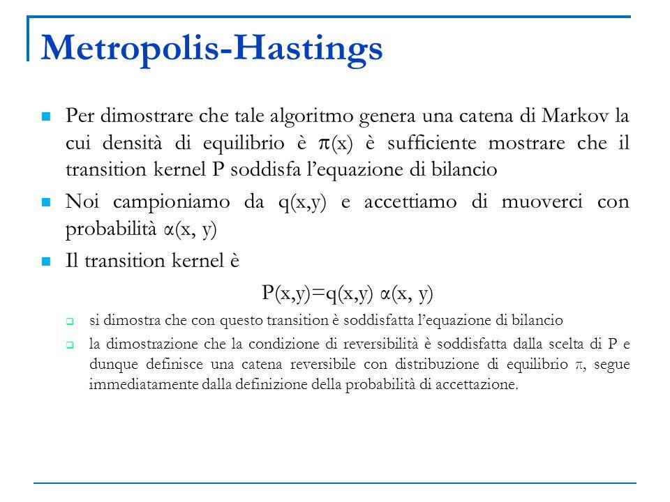 Metropolis-Hastings Per dimostrare che tale algoritmo genera una catena di Markov la cui densità di equilibrio è (x) è sufficiente mostrare che il tra