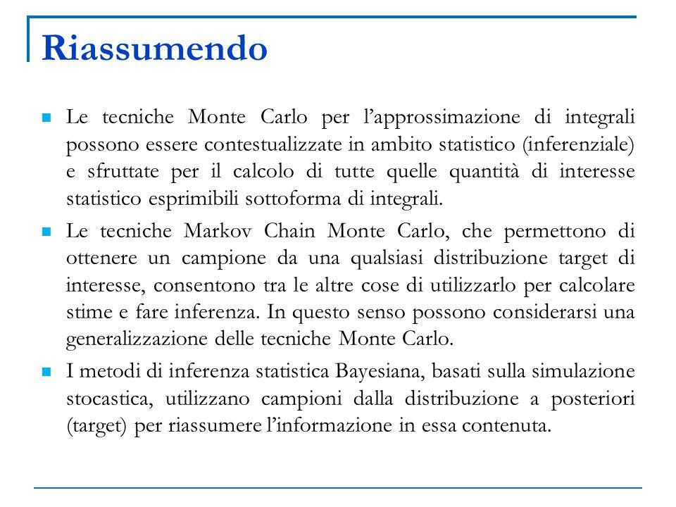 Riassumendo Le tecniche Monte Carlo per lapprossimazione di integrali possono essere contestualizzate in ambito statistico (inferenziale) e sfruttate