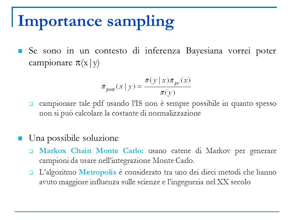 Importance sampling Se sono in un contesto di inferenza Bayesiana vorrei poter campionare (x|y) campionare tale pdf usando lIS non è sempre possibile