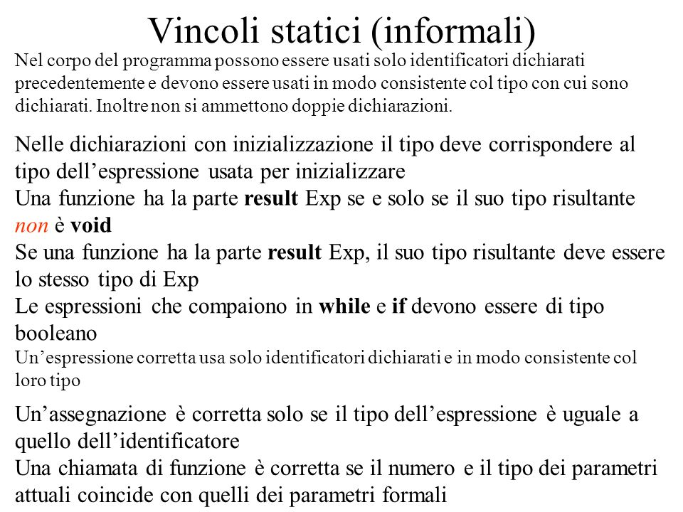 Vincoli statici (informali) Nel corpo del programma possono essere usati solo identificatori dichiarati precedentemente e devono essere usati in modo