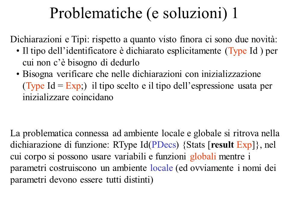 Problematiche (e soluzioni) 1 Dichiarazioni e Tipi: rispetto a quanto visto finora ci sono due novità: Il tipo dellidentificatore è dichiarato esplici