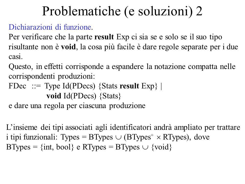 Problematiche (e soluzioni) 2 Dichiarazioni di funzione. Per verificare che la parte result Exp ci sia se e solo se il suo tipo risultante non è void,