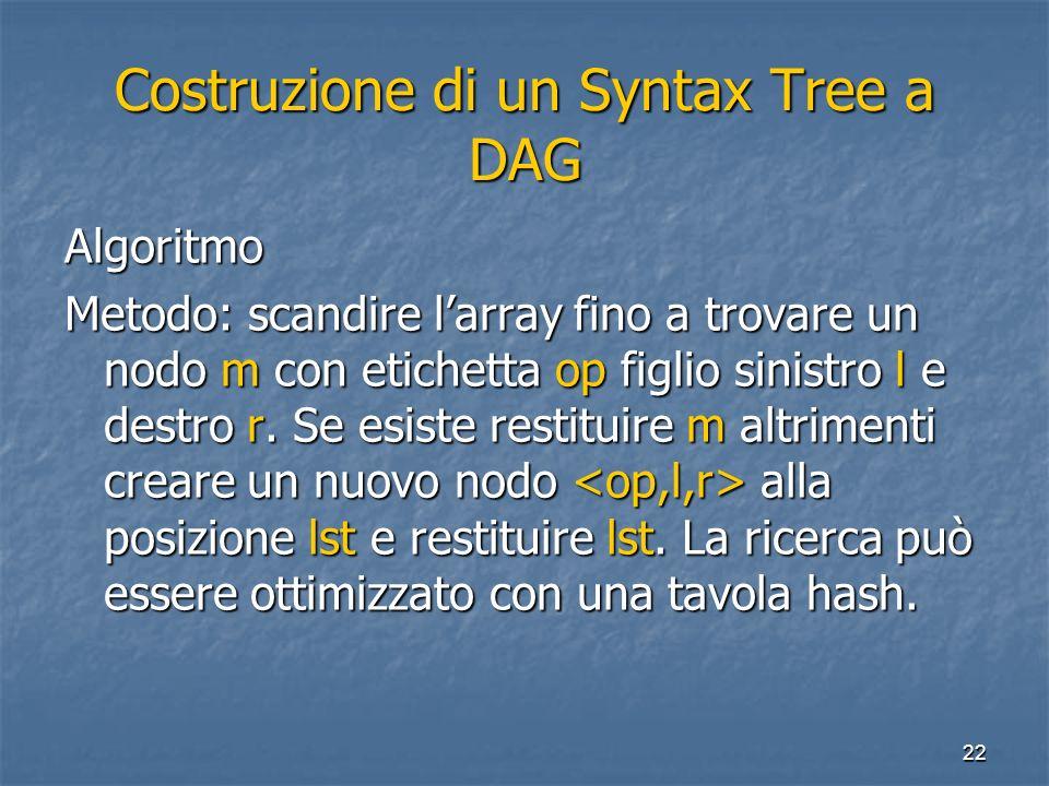 22 Costruzione di un Syntax Tree a DAG Algoritmo Metodo: scandire larray fino a trovare un nodo m con etichetta op figlio sinistro l e destro r. Se es