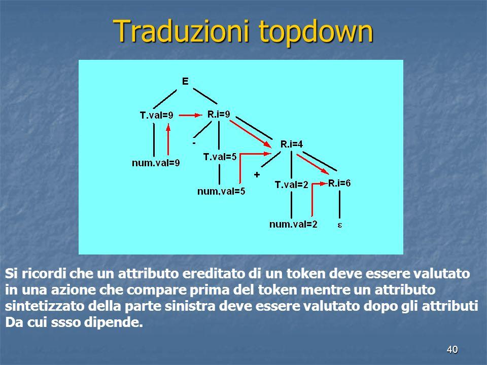 40 Traduzioni topdown Si ricordi che un attributo ereditato di un token deve essere valutato in una azione che compare prima del token mentre un attributo sintetizzato della parte sinistra deve essere valutato dopo gli attributi Da cui ssso dipende.